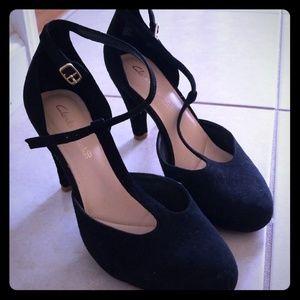 Black Clarks t-strap heel